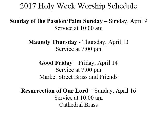 2017 Holy Week Service Schedule
