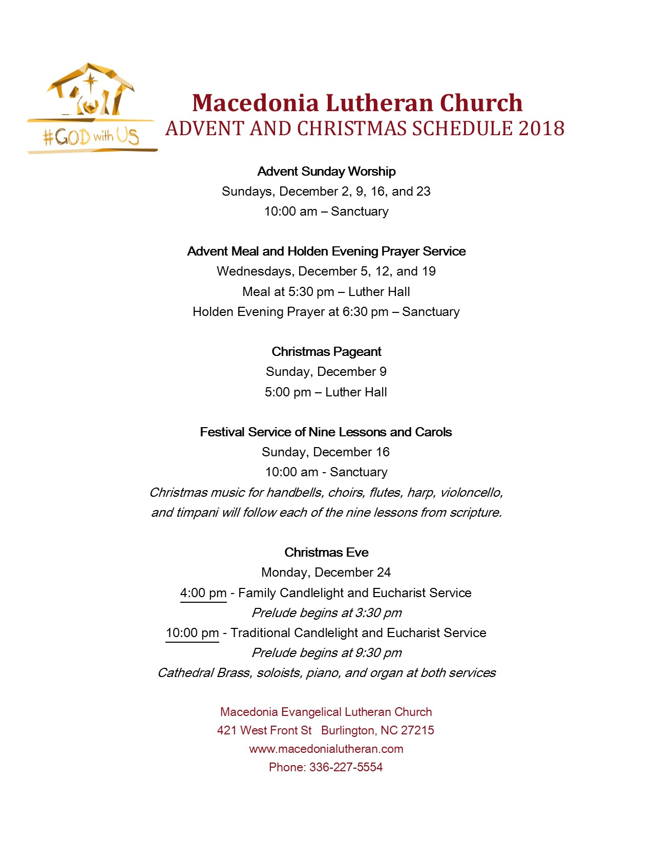 Advent Schedule one page