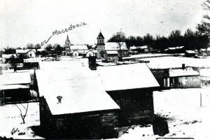 The Village of Burlington in 1890 with Macedonia Lutheran Church in the far background.  (Courtesy Egbert Riddle.)