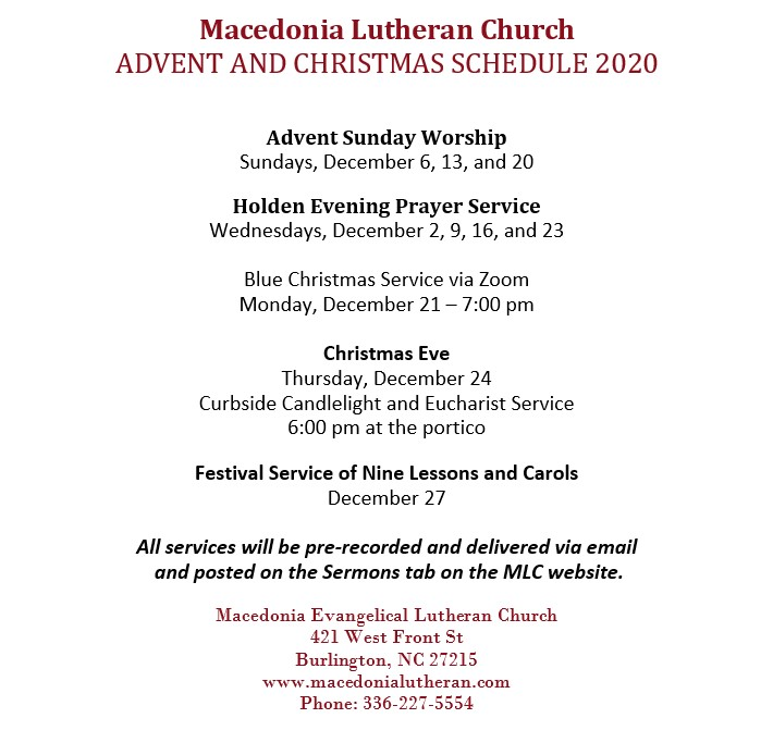 2020 Advent and Christmas Schedule