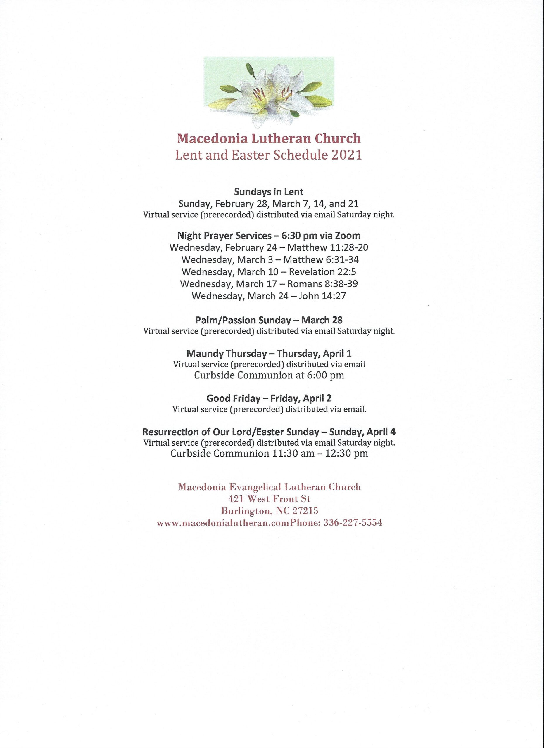 2021 Lent and Easter Schedule4
